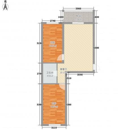 荣盛花园2室1厅1卫0厨70.44㎡户型图