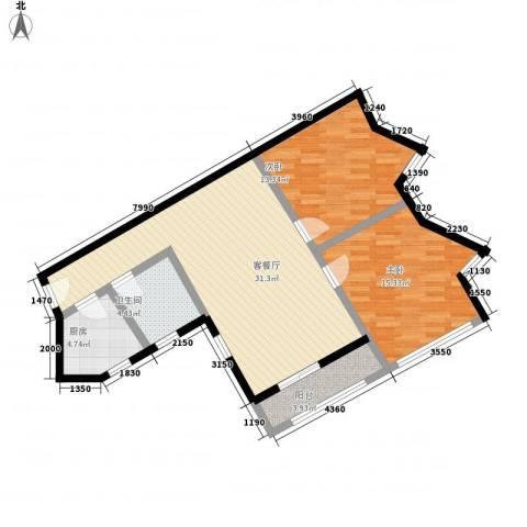 南江公寓2室1厅1卫1厨105.00㎡户型图