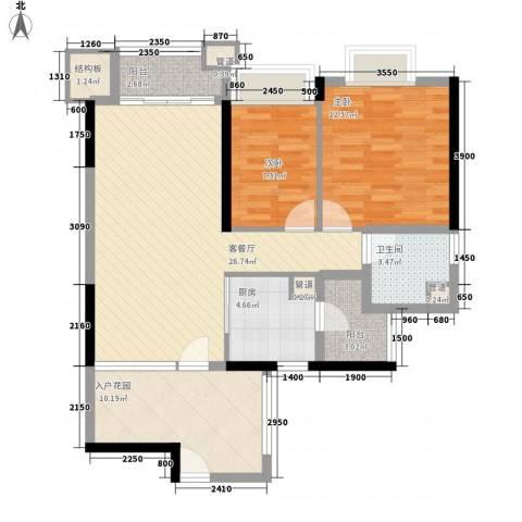 翡翠绿洲・庄园豪宅2室1厅1卫1厨89.00㎡户型图