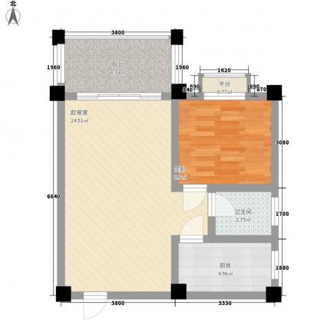 太阳河温泉度假中心1室0厅1卫1厨70.00㎡户型图