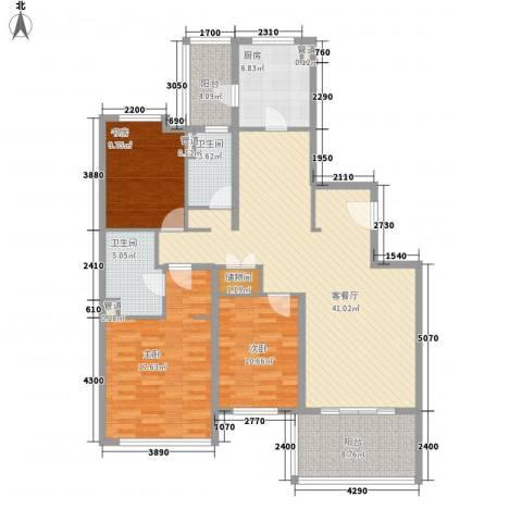仁恒河滨城三期3室1厅2卫1厨155.00㎡户型图