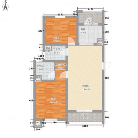 御水豪庭2室1厅2卫1厨98.00㎡户型图
