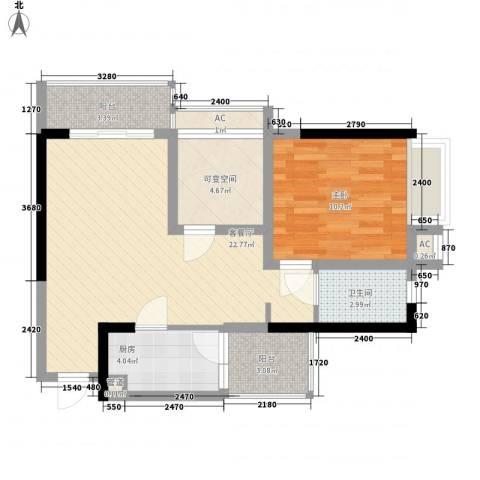 美梦城真1室1厅1卫1厨55.00㎡户型图