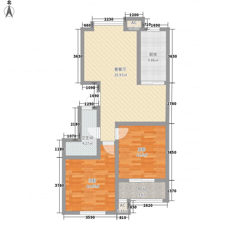东兴寓城花园92.02㎡东兴寓城花园户型图5-B2室2厅户型2室2厅