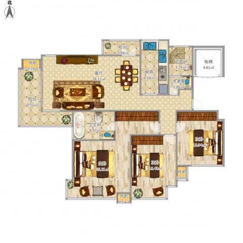 东湖大郡3室1厅2卫1厨179.00㎡户型图
