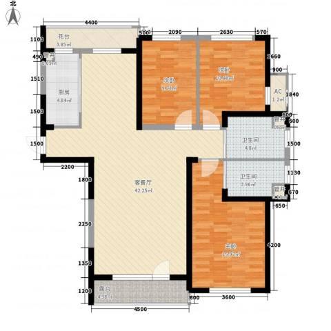 蓝色港湾3室1厅2卫1厨141.00㎡户型图