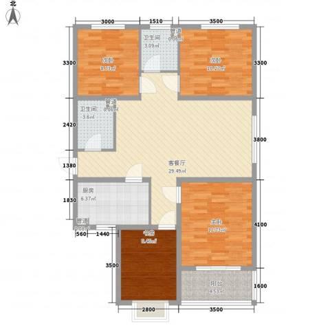 橄榄城4室1厅2卫1厨87.47㎡户型图