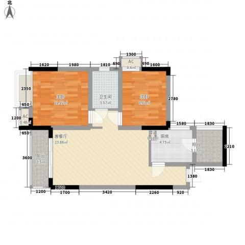 美梦城真2室1厅1卫1厨65.00㎡户型图