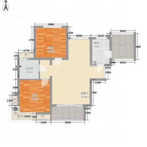 滨湖世纪城徽杰苑2室1厅1卫1厨106.00㎡户型图