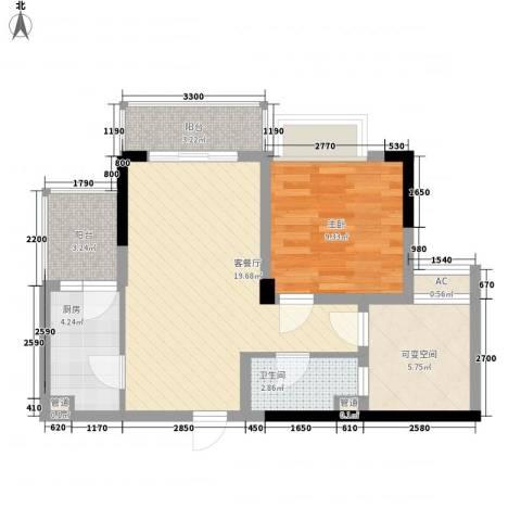 美梦城真1室1厅1卫1厨50.00㎡户型图