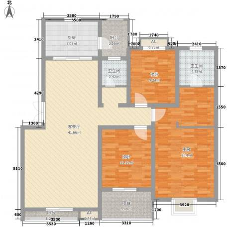 汇城上筑3室1厅2卫1厨127.18㎡户型图