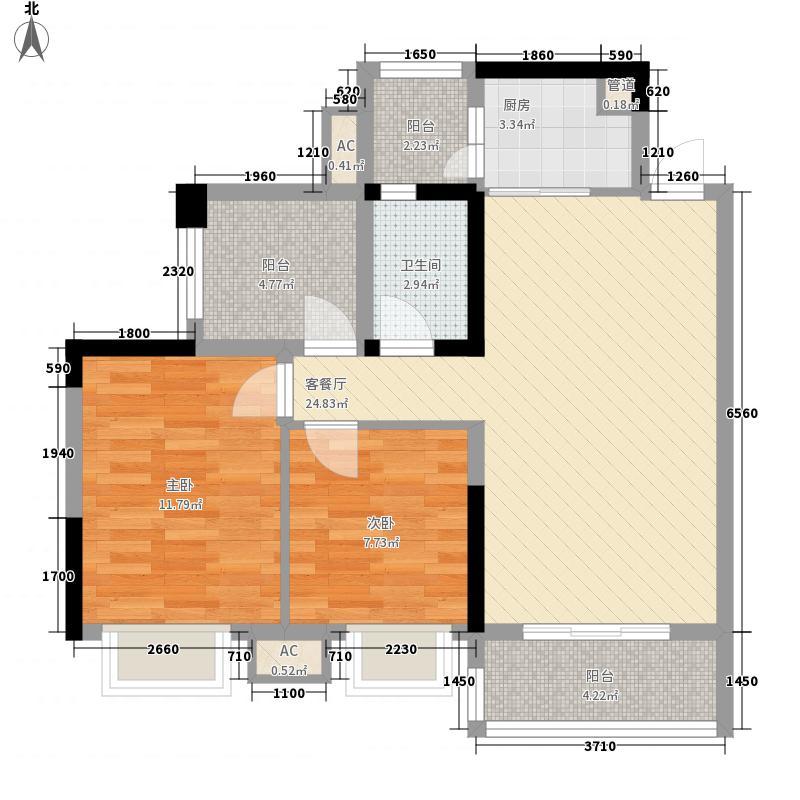 海逸・锦绣公馆88.50㎡1栋04户型2室1厅1卫1厨