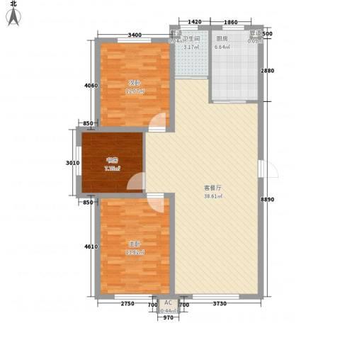丰和西郡3室1厅1卫1厨107.00㎡户型图
