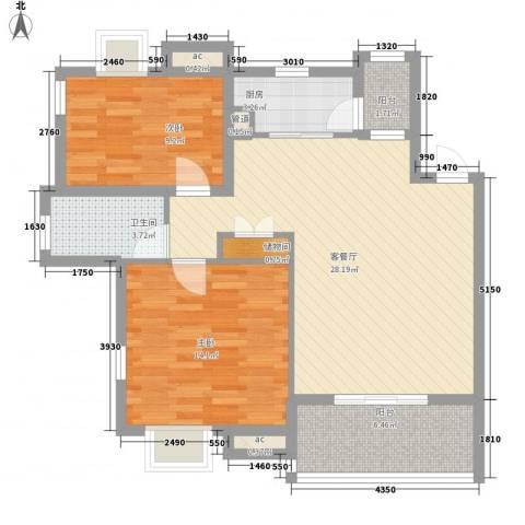 翠微品墅2室1厅1卫1厨99.00㎡户型图