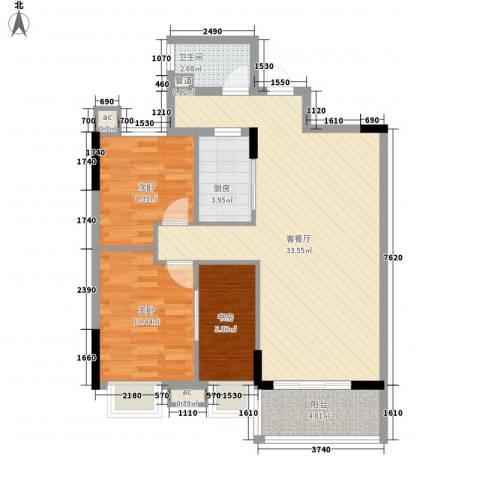 银丰花园3室1厅1卫1厨80.50㎡户型图