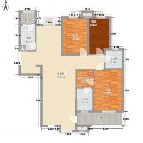 翠微品墅3室1厅2卫1厨150.00㎡户型图