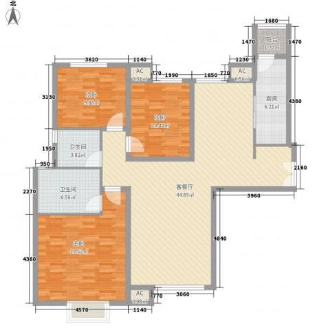 太原富力现代广场3室1厅2卫1厨139.00㎡户型图