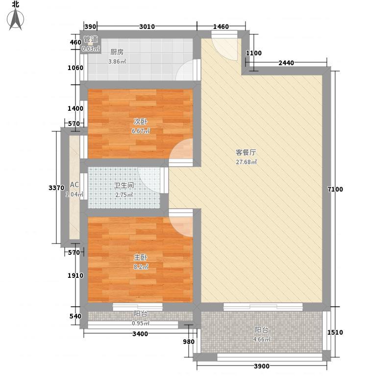 卓远景峰84.00㎡卓远景峰户型图4座01单位2室2厅1卫1厨户型2室2厅1卫1厨