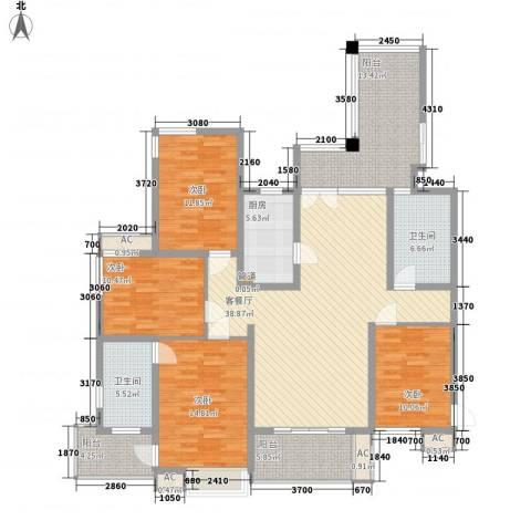 滨湖世纪城徽杰苑4室1厅2卫1厨167.00㎡户型图