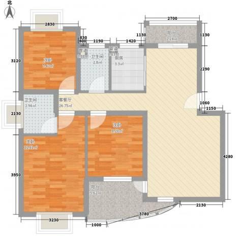 枫庐新天地3室1厅2卫1厨105.00㎡户型图