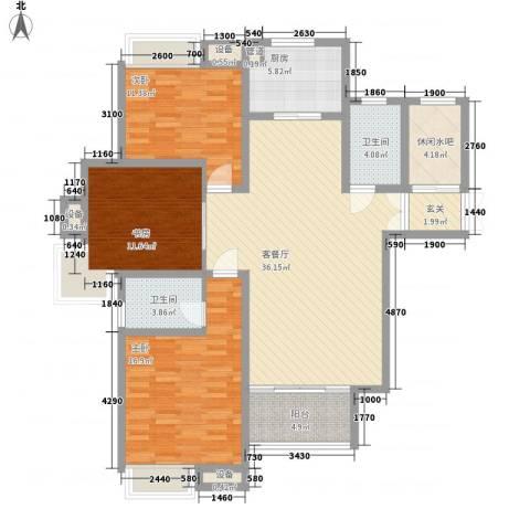 拓基沃野花园3室1厅2卫1厨135.00㎡户型图
