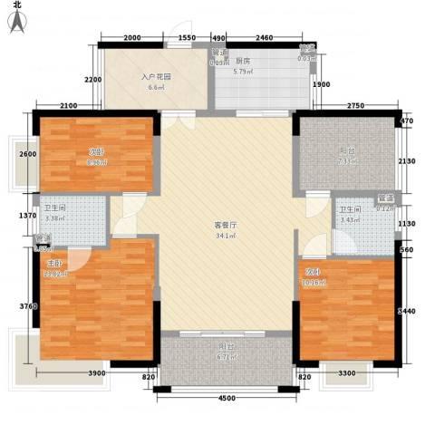 海悦云天3室1厅2卫1厨132.00㎡户型图