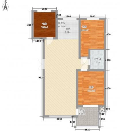 东城天下3室1厅1卫0厨105.00㎡户型图