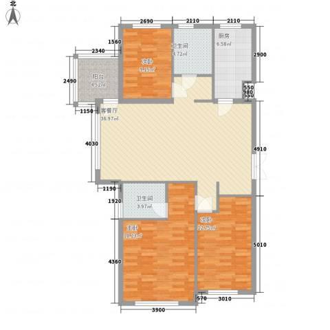 东城天下3室1厅2卫1厨105.00㎡户型图