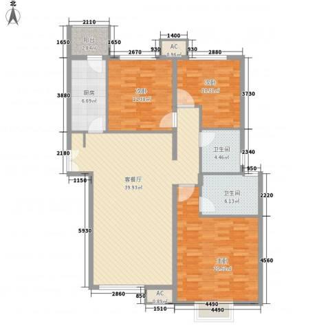 太原富力现代广场3室1厅2卫1厨130.00㎡户型图
