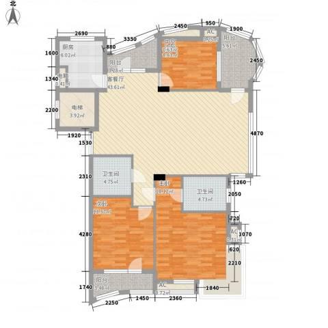 东城天下3室1厅2卫1厨117.83㎡户型图