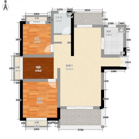 枫庐新天地2室1厅1卫1厨90.00㎡户型图