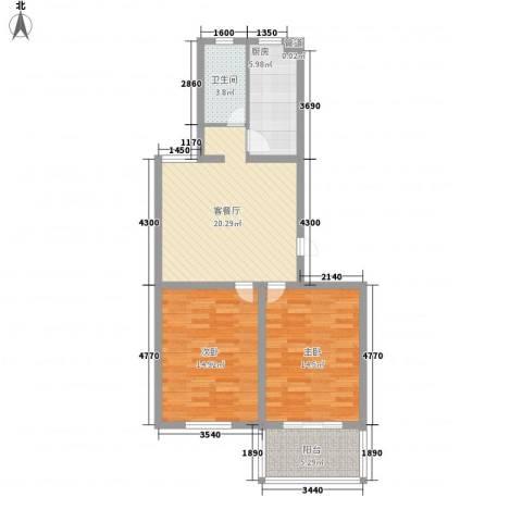 景盛花园2室1厅1卫1厨64.79㎡户型图