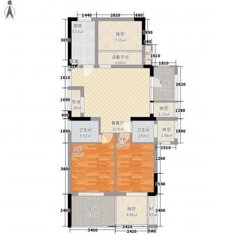 勤业镜悦府2室1厅2卫1厨104.97㎡户型图