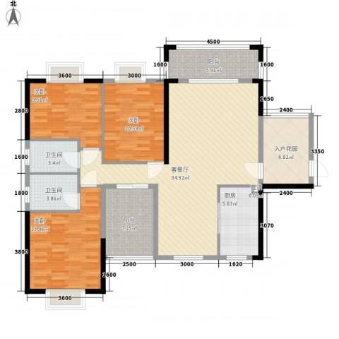 海悦云天3室1厅2卫1厨125.00㎡户型图