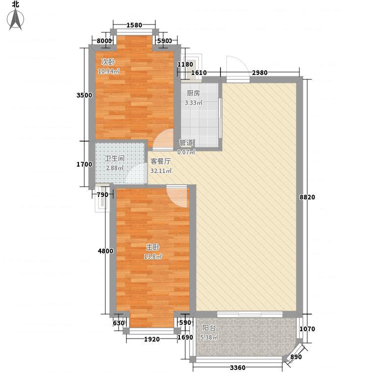 桂花苑8.86㎡B户型2厅1卫