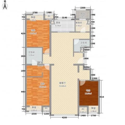 中粮万科紫云庭3室1厅2卫1厨160.00㎡户型图