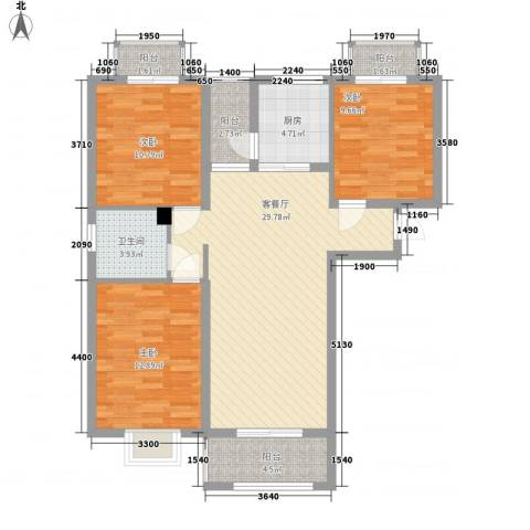 上河城3室1厅1卫1厨106.00㎡户型图