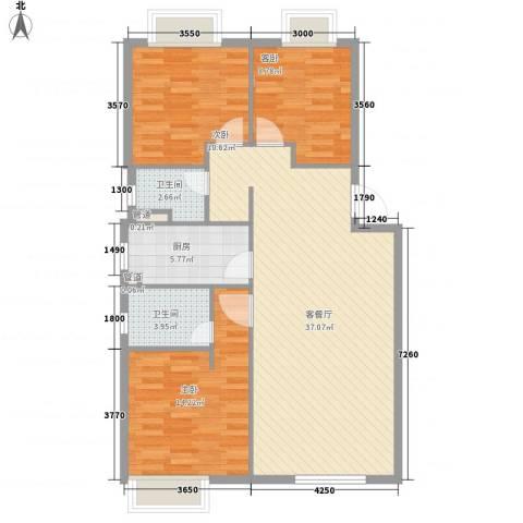 怡兰苑3室1厅2卫1厨116.00㎡户型图