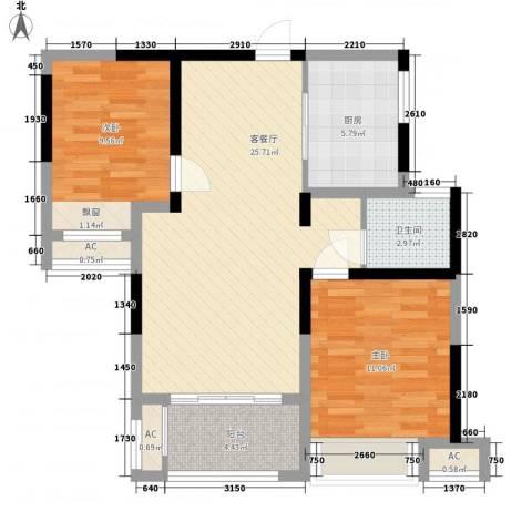 绿地中央广场2室1厅1卫1厨90.00㎡户型图