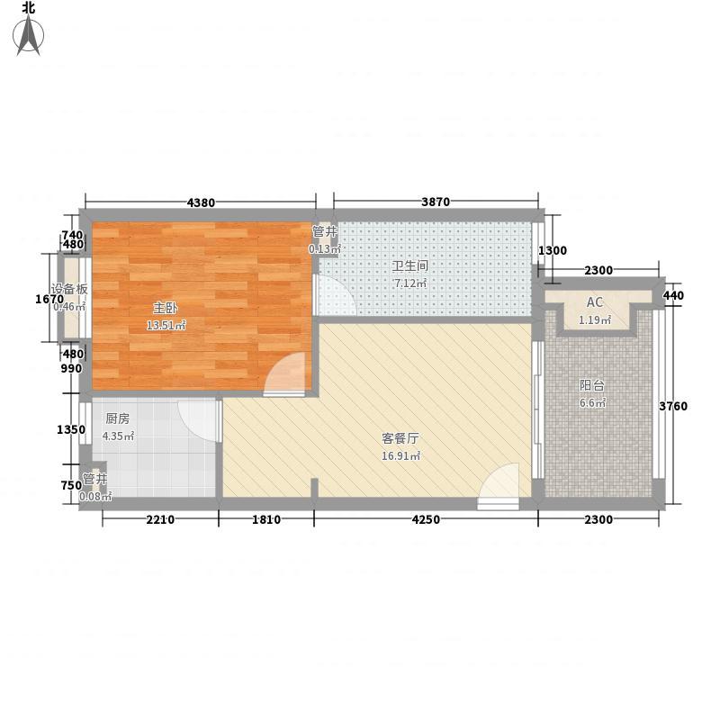 长滩雨林70.00㎡长滩雨林户型图花园洋房1E1室2厅1卫户型1室2厅1卫