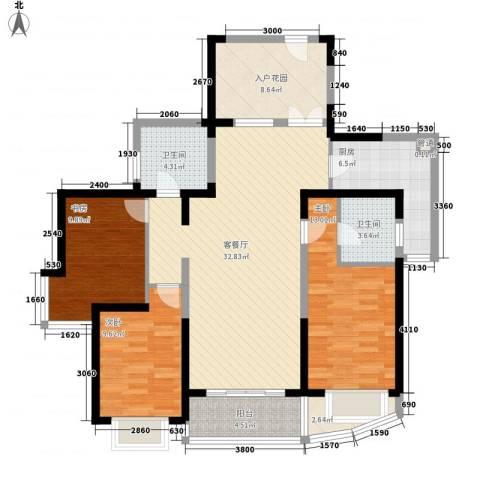 南博湾花园3室1厅2卫1厨139.00㎡户型图