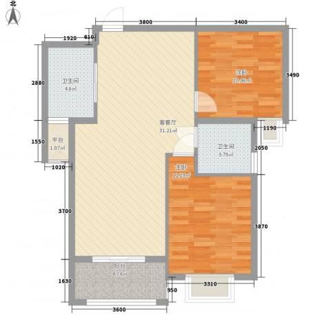 上河城2室1厅2卫0厨86.00㎡户型图