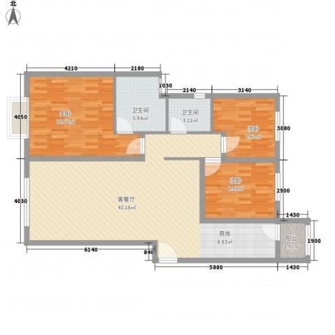 太原富力现代广场3室1厅2卫0厨129.00㎡户型图