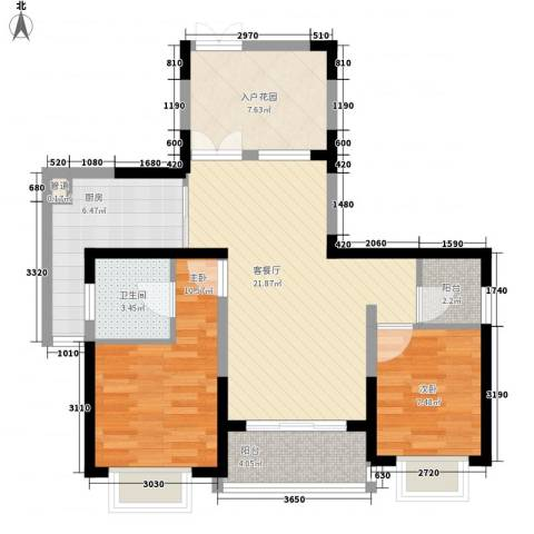 南博湾花园2室1厅1卫1厨94.00㎡户型图