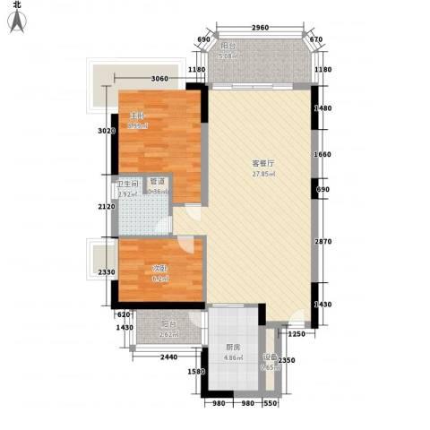 恒大绿洲2室1厅1卫1厨86.00㎡户型图