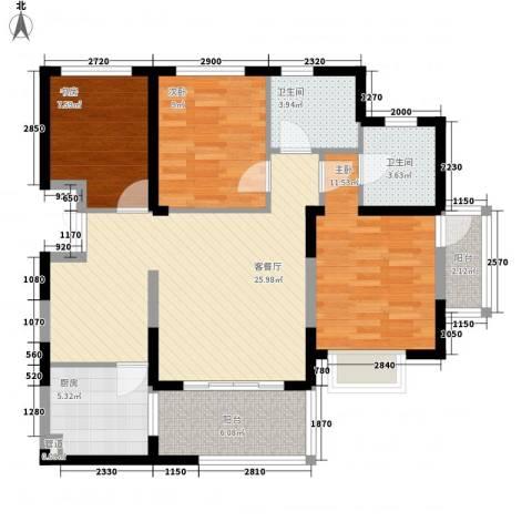 南博湾花园3室1厅2卫1厨109.00㎡户型图