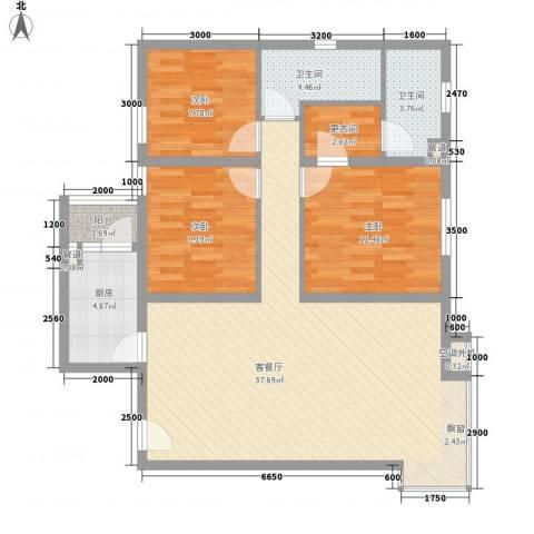 名品建筑3室1厅2卫1厨111.00㎡户型图