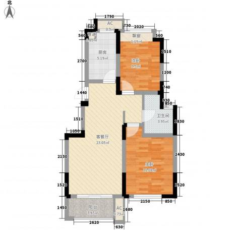 滨江丽都桥语2室1厅1卫1厨86.00㎡户型图