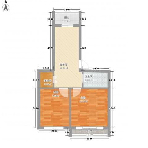 丰和日丽2室1厅1卫1厨76.00㎡户型图