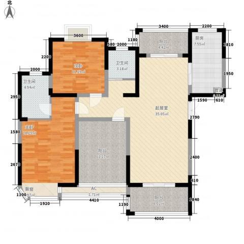 城改蜀湖湾2室0厅2卫1厨129.00㎡户型图